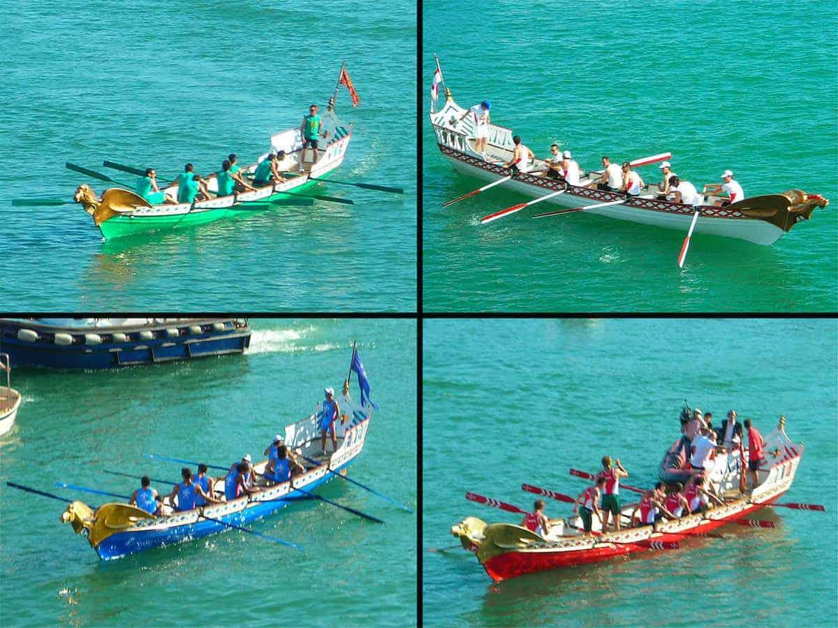 Le quattro imbarcazioni. Dall'alto a sinistra, in senso orario, Venezia, Genova, Pisa e Amalfi