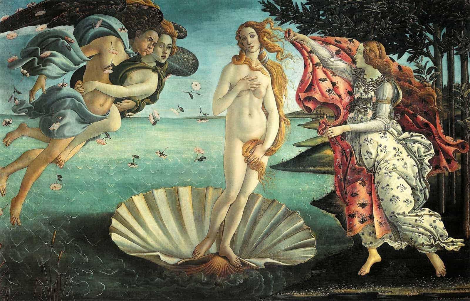 La Dea Venere raffigurata nel capolavoro di Botticelli - La nascita di Venere