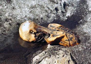 Ötzi, fotografato da Helmut Simon alla scoperta del cadavere nel settembre 1991