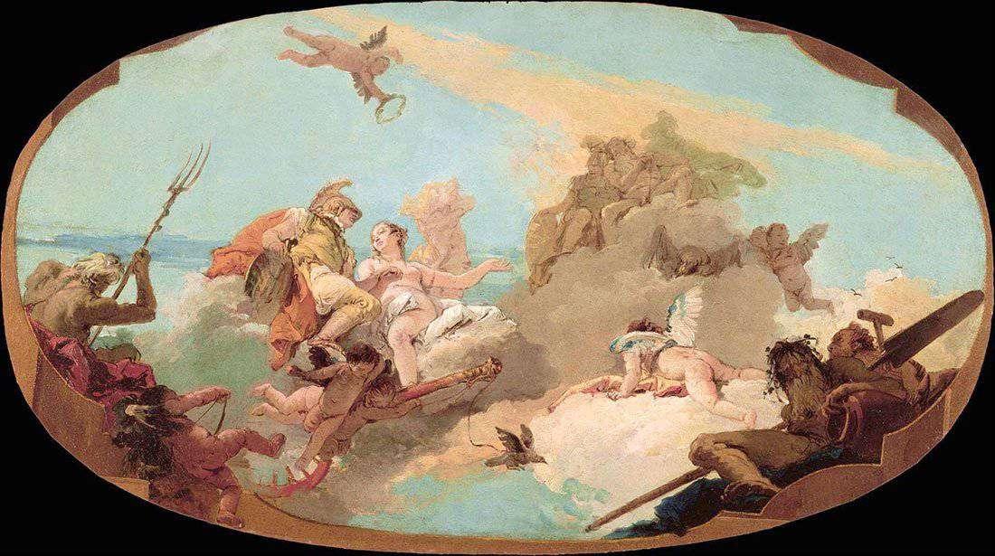 Villa Pisani - Sala da Ballo: Gianbattista Tiepolo - Gloria della famiglia Pisani