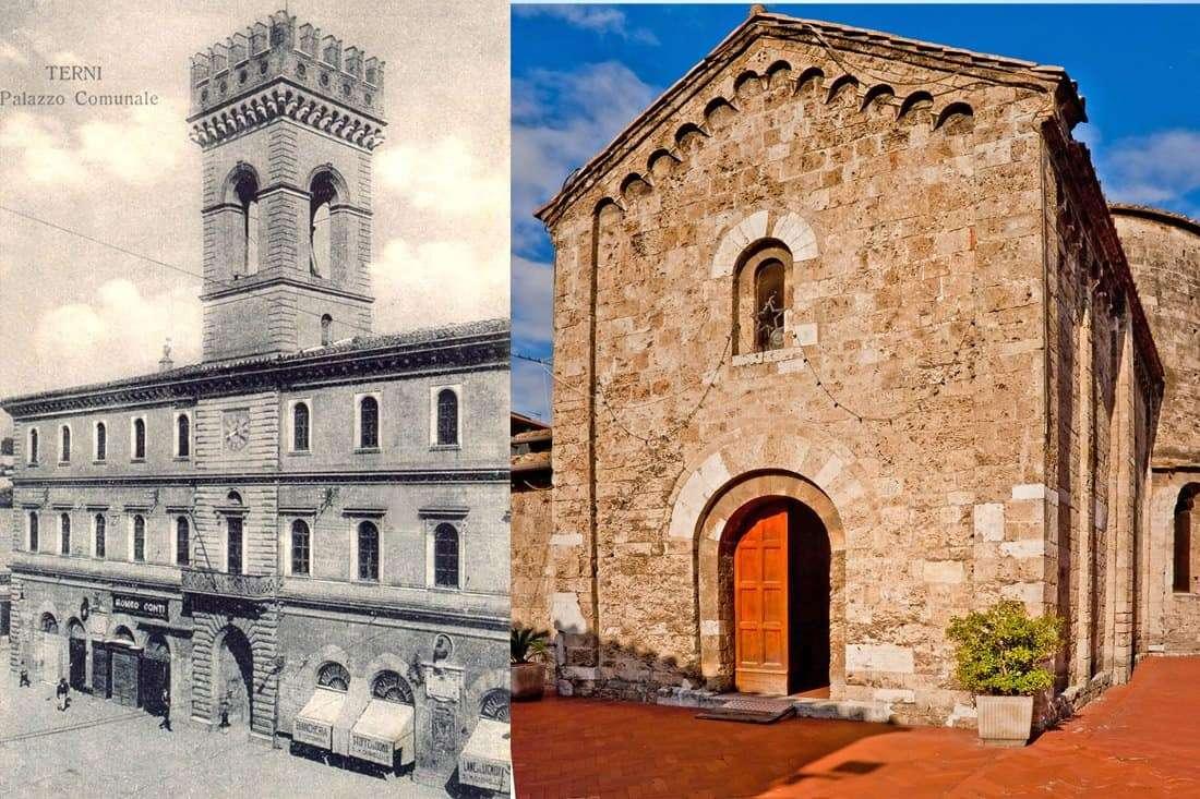 Terni : Palazzo Comunale Vecchio e Chiesa di San Salvatore